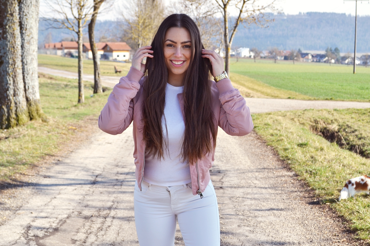 white jeans topshop pink bomber