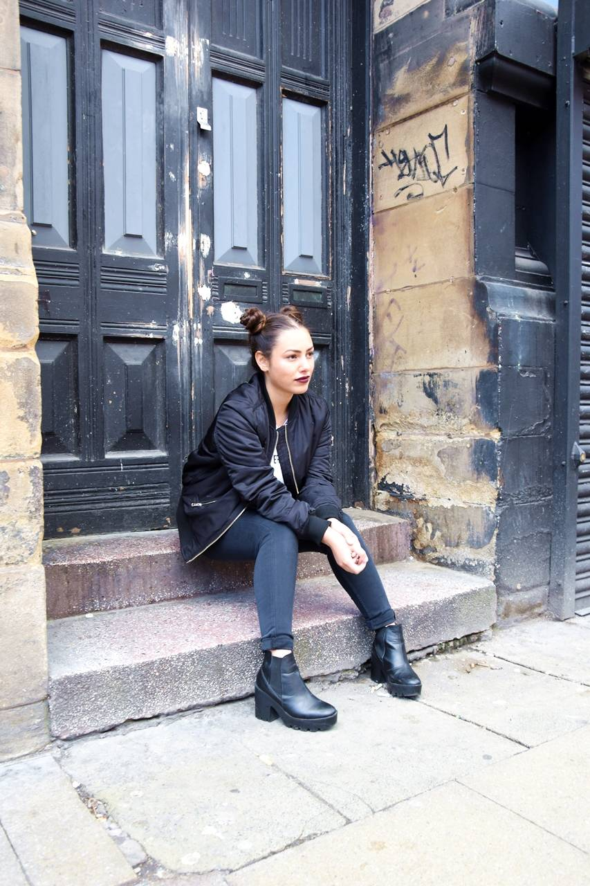 Outfit: Two Buns and Bomber Jacket